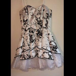 Deb Dresses - Black and white strapless formal dress